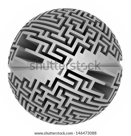 isolated grey labyrinth sphere symmetry illustration