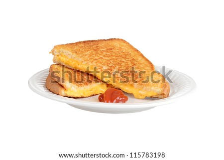 Isolated grilled cheese on a plate - stock photo
