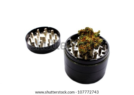 Isolated grinder used to grind marijuana into smaller pieces.