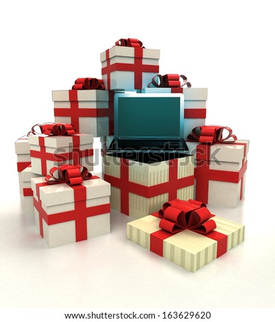 isolated group of christmas gift boxes with new laptop revelation illustration