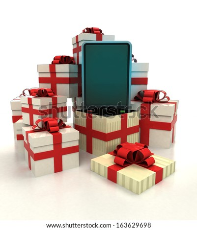 isolated group of christmas gift boxes with new smart phone revelation illustration
