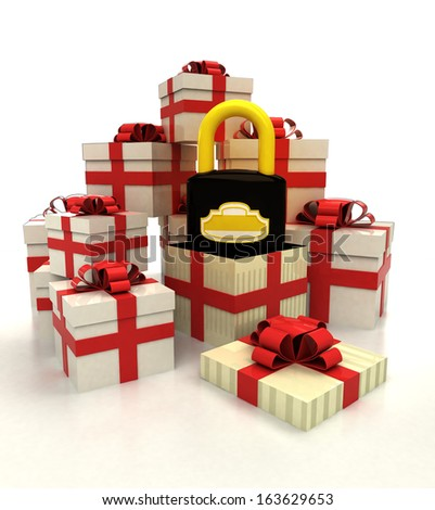 isolated group of christmas gift boxes with security padlock revelation illustration