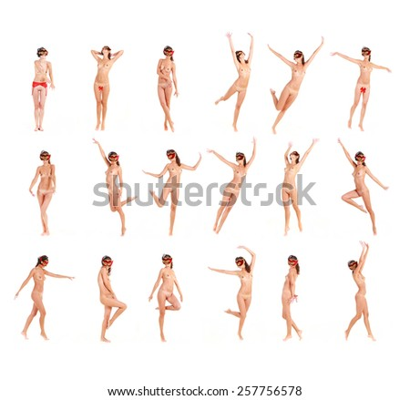 Isolated Group of Enjoying Nudity  - stock photo