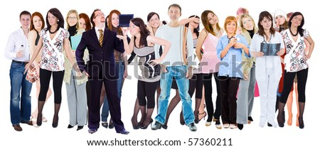 Isolated Group over white - stock photo