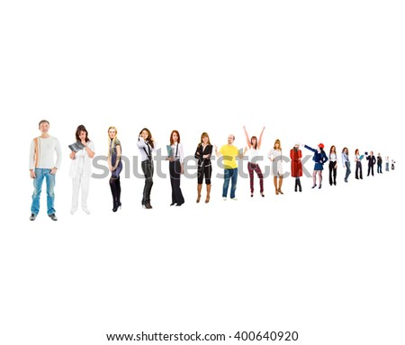 Isolated Groups Standing Together  - stock photo