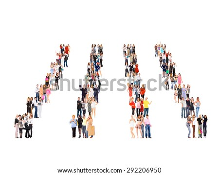 Isolated Groups Team over White  - stock photo
