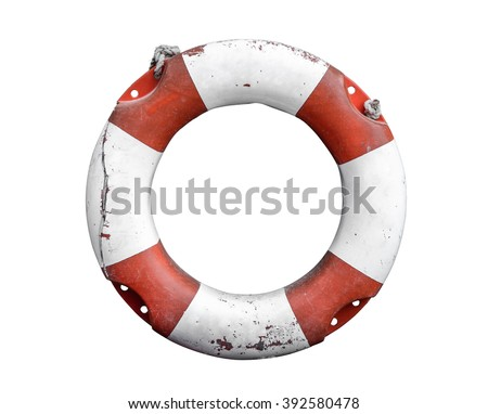 Isolated Grungy Lifebuoy Or Life Preserver With Rope On White Background - stock photo