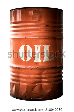 Isolated Grungy Orange Oil Drum Or Barrel - stock photo