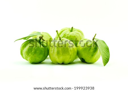 isolated guava with the worm on white background