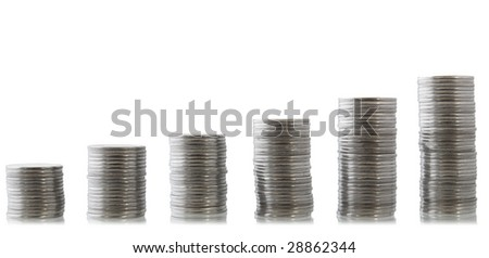 isolated half finished pile of coins for making business chart - stock photo
