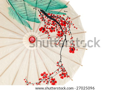 Isolated half oriental umbrella - stock photo