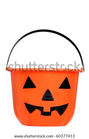 isolated Halloween pumpkin pail - stock photo