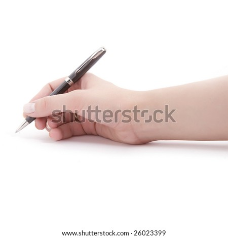 Isolated hand and pen