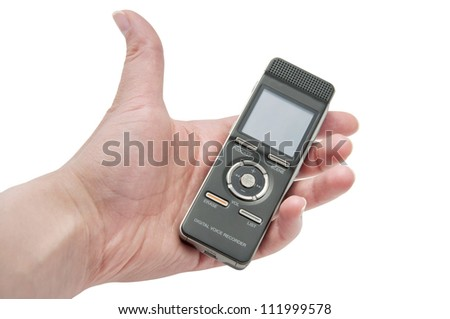 isolated hand holding a dictaphone