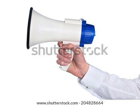 Isolated hand holding a loudspeaker - stock photo