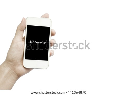 """Isolated hand holding a phone with message """"No Service""""  on the screen - stock photo"""