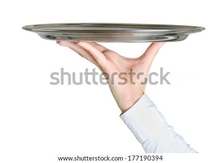 Isolated hand holding empty dish  - stock photo