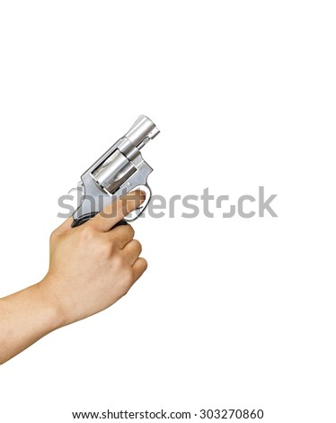 Isolated hand holding .38 revolvers with clipping path - stock photo