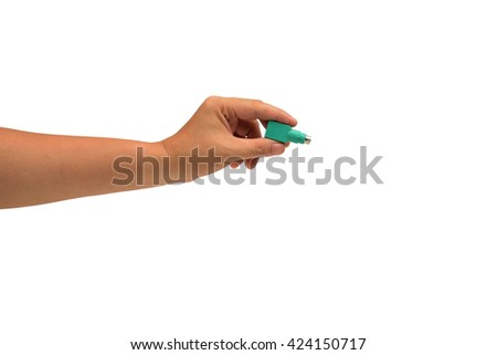 isolated hand holding Small computer chip