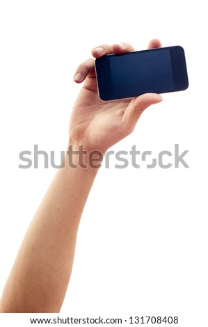 isolated hand holding smartphone or phone, two clipping path is in jpg, hand outline and the phone screen.