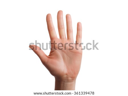 Isolated hand shows the number five. Stop concept with hand up - stock photo