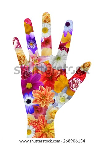 Isolated hand with flower texture - stock photo