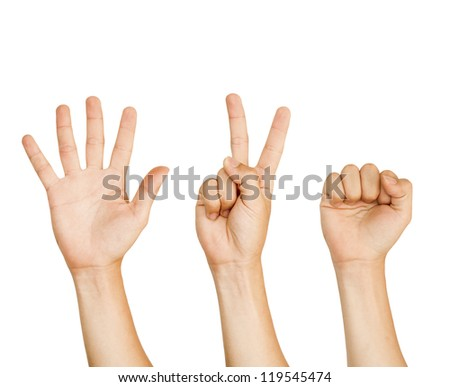 isolated hand with sign of rock,paper,scissors games.