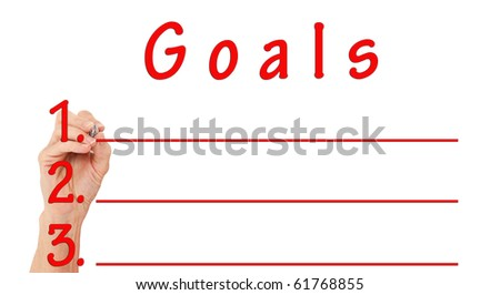 Isolated Hand Writing Goals On Board On White Background With Red Lettering - stock photo