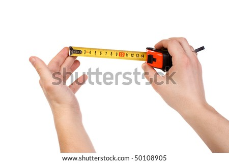 isolated hands holding tape measure
