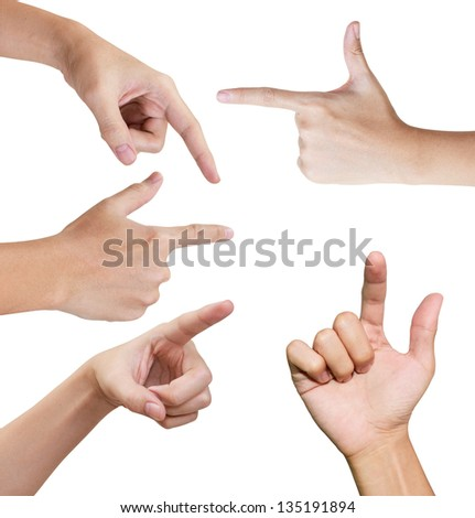 Isolated hands in variety style pointing and touching something