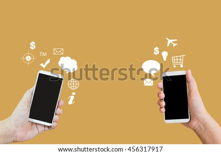 Isolated hands present big blank screen mobile or cellphone or smartphone on plain background,transferring data or business cantact,business to business ,e-commerce sign or symbol on plain background