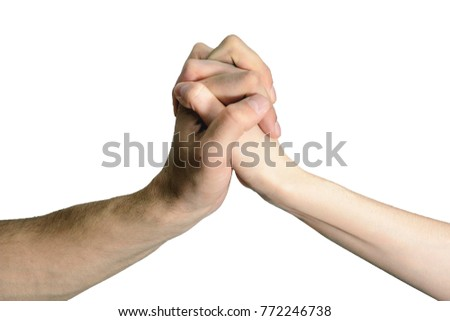 isolated handshake men and women. the concept of consent, assistance, agreements