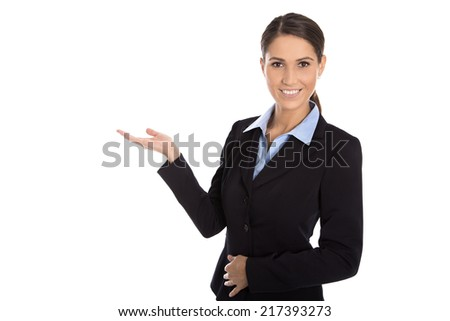 Isolated happy businesswoman presenting and showing over white background.