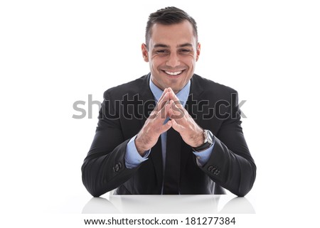 Isolated happy handsome businessman in suit and tie. - stock photo