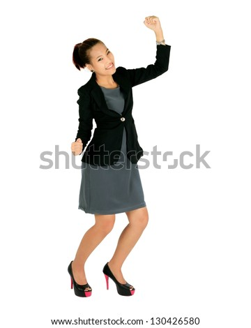 Isolated happy  young business woman on white. - stock photo