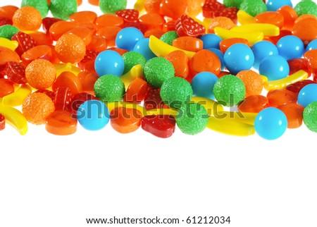 isolated hard fruit candy - stock photo