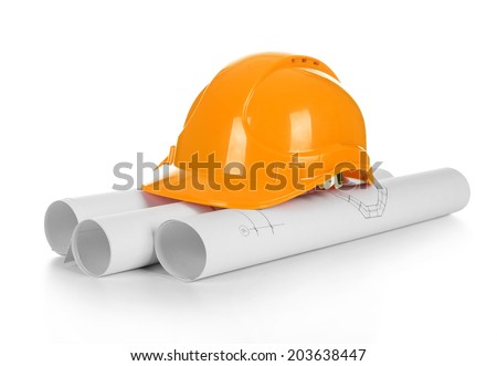 isolated hard hat with blueprints