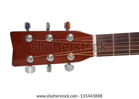 isolated headstock of the guitar - stock photo