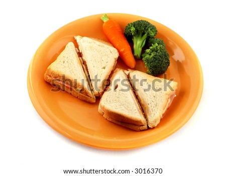 Isolated healthy sandwich with vegetables.