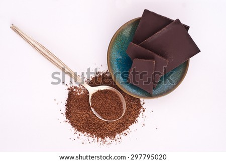 isolated heap of chocolate on white background - studio shot - stock photo