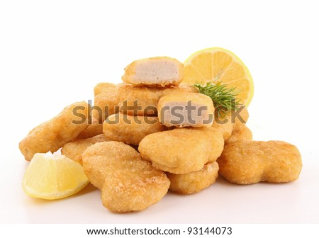 isolated heap of nuggets - stock photo