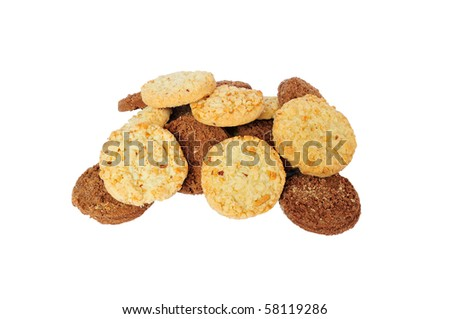 isolated heap of nut and chocolate tasty cookies - stock photo