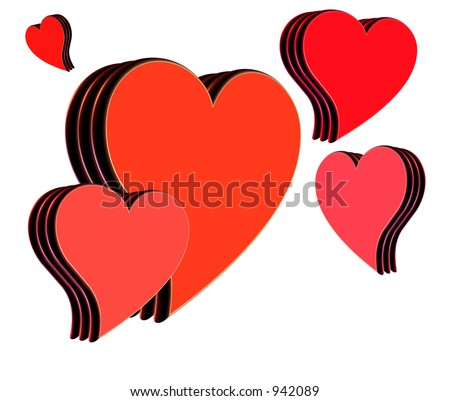 isolated hearts with various shades of red