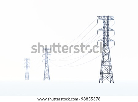 Isolated high voltage power lines - stock photo
