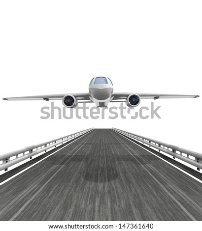 isolated highway with airplane flight illustration