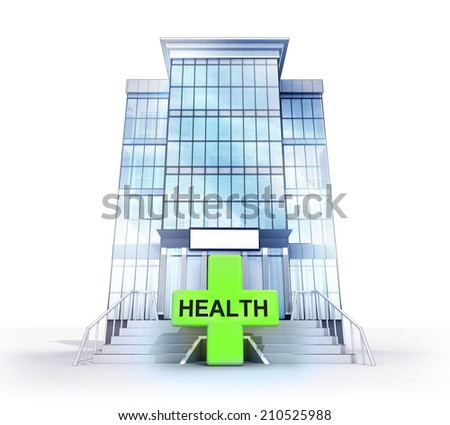 isolated hospital building with health care symbol concept illustration - stock photo
