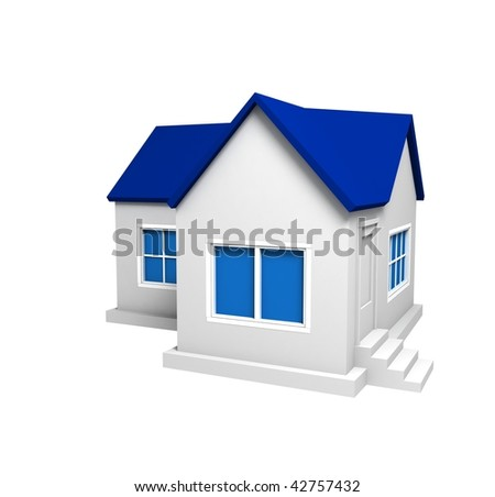 Isolated House Blue Roof