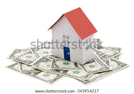 Isolated house model on dollar cash money background real estate business concept