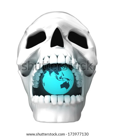 isolated human skull head with asia earth globe in jaws illustration