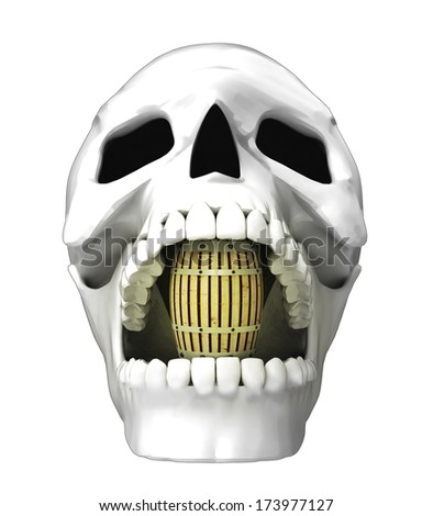 isolated human skull head with beverage keg in jaws illustration
